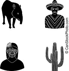 Tapir Mexican animal, a Mexican in national clothes in a poncho, a woman with a flower, a cactus. Mexico country set collection icons in black style vector symbol stock illustration web.