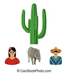 Tapir Mexican animal, a Mexican in national clothes in a poncho, a woman with a flower, a cactus. Mexico country set collection icons in cartoon style vector symbol stock illustration web.