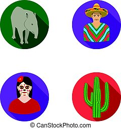 Tapir Mexican animal, a Mexican in national clothes in a poncho, a woman with a flower, a cactus. Mexico country set collection icons in flat style vector symbol stock illustration web.
