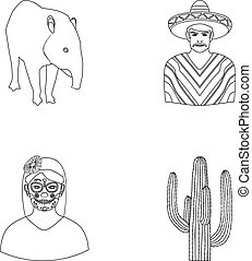 Tapir Mexican animal, a Mexican in national clothes in a poncho, a woman with a flower, a cactus. Mexico country set collection icons in outline style vector symbol stock illustration web.