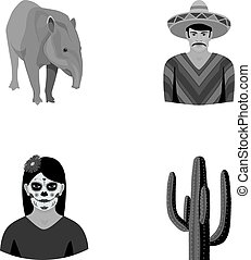 Tapir Mexican animal, a Mexican in national clothes in a poncho, a woman with a flower, a cactus. Mexico country set collection icons in monochrome style vector symbol stock illustration web.