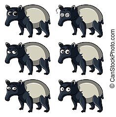 Tapir with different emotions