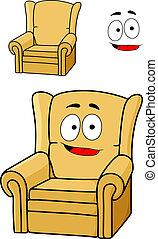 tapissé, fauteuil, dessin animé, jaune, confortable