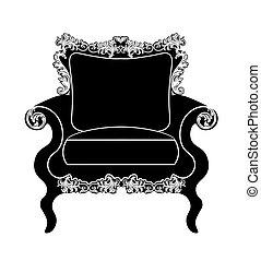 tapissé, fauteuil, vendange