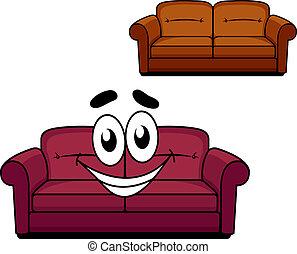 tapissé, heureux, dessin animé, divan