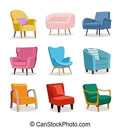 tapisserie ameublement, coloré, fauteuil, moderne, ensemble, doux