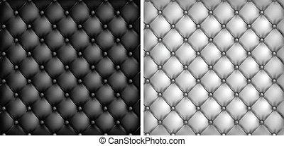 tapisserie ameublement, &, cuir, arrière-plan noir, blanc