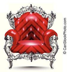 tapisserie ameublement, fauteuil, ornament., argent, vecteur, découpé, riche, vendange, illustrations, baroque, decor., rouges, meubles