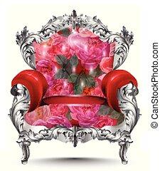 tapisserie ameublement, fauteuil, ornament., illustration, argent, roses, vecteur, découpé, riche, vendange, baroque, decor., rouges, meubles