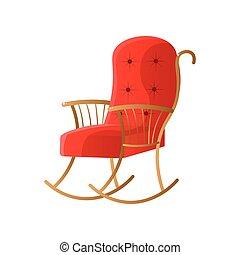 tapisserie ameublement, isolé, chaise, fond, blanc, balancer, rouges