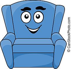 tapizado, azul, cómodo, sillón