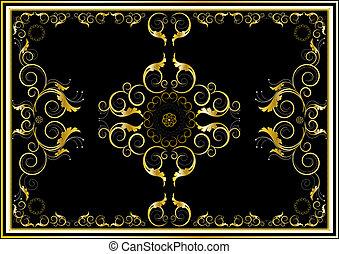 tappeto, oro, orientale, ornamenti