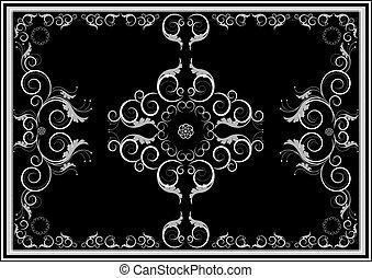 tappeto, scuro, orientale, ornamenti