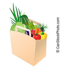 tappezzi sacco, con, verdure fresche