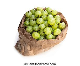 tappezzi sacco, isolato, bianco, uva spina, pieno