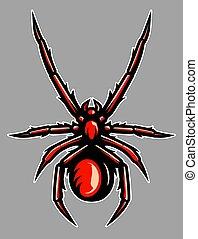 tarântula, venenosa, aranha, ilustração, mascote