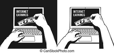 tar, arbete, laptop, hand, hundra, ute, övervaka