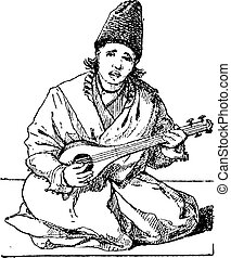Tar (lute) vintage engraving - Old engraved illustration of...