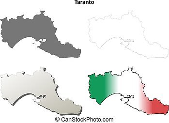 Taranto blank detailed outline map set - Taranto province...
