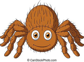 tarantula, schattig, spotprent, spin