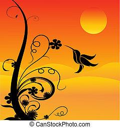 tarareo, flores, pájaro