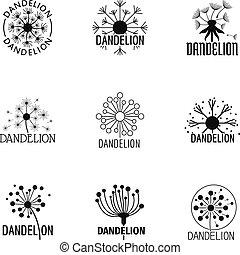 Taraxacum icons set, simple style