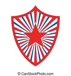 tarcza, bandera, ilustracja, amerykanka, wektor, style.