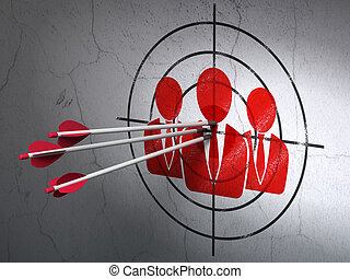 tarcza, handlowy zaludniają, ściana, strzały, tło, concept:
