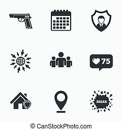 tarcza, pośrednictwo, icons., protection., dom bezpieczeństwo