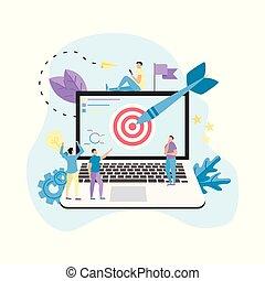tarcza, pojęcie, uderzyć, tarcza, handlowa ilustracja, laptop, wektor, strzała, achievement., gol