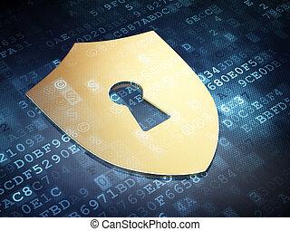 tarcza, render, ochrona, tło, dziurka od klucza, cyfrowy, złoty, concept:, 3d