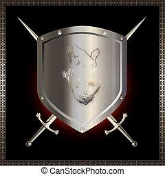 tarcza, srebro, swords.