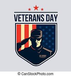 tarcza, usa, flag., ilustracja, żołnierz, przeciw, ...