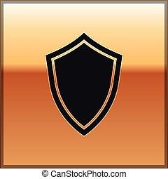 tarcza, złoty, poznaczcie., odizolowany, ilustracja, tło., uchronić, wektor, czarnoskóry, ikona