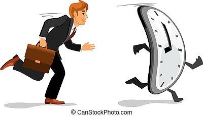 tard, course homme affaires, travail