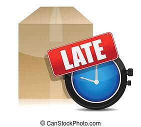 tard, livraison, montre, boîte