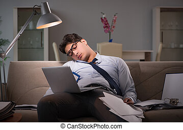 tard, maison, bourreau travail, fonctionnement, homme...
