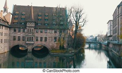 tard, nuremberg, hôpital, saint, restaurant, bavière, german-style, automne, allemagne ancienne, sanatorium, maintenant, esprit