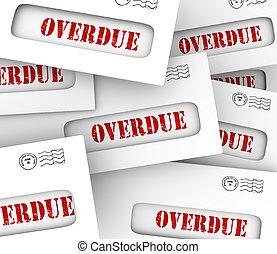 tard, pénalité, tas, enveloppes, honoraires, factures, paiement, retard