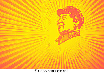 tard, portrait, zedong, éditorial, mao