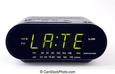 tard, radio, mot, horloge