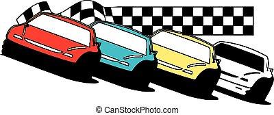 tard, voitures, modèle, course