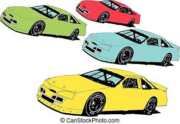 tard, voitures, modèle, course, stockage