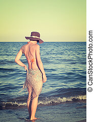 tarde, ambulante, mujer, playa, tarde