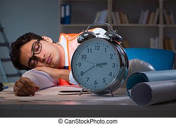 tarde, após, longo, dormir, horas, arquiteta