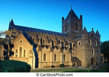 tarde, cristo, famoso, dublín, irlanda, iglesia, catedral