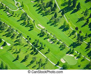 tarde, durante, aéreo, tarde, golfing