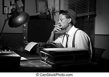 tarde, fumar, retro, trabajando, reportero