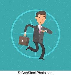 tarde, homem negócios, reunião, negócio