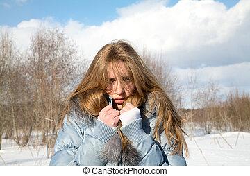 tarde, menina, congelado, inverno